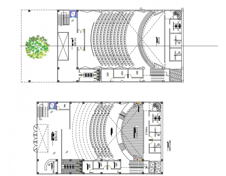 Architectural plan detail of auditorium building 2d view layout file in autocad format