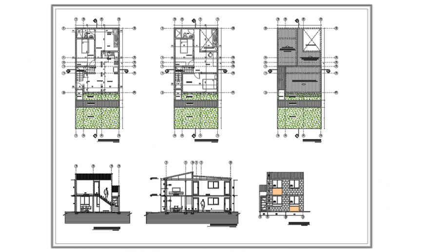 Architectural planning design of priority housing of 2 levels design.