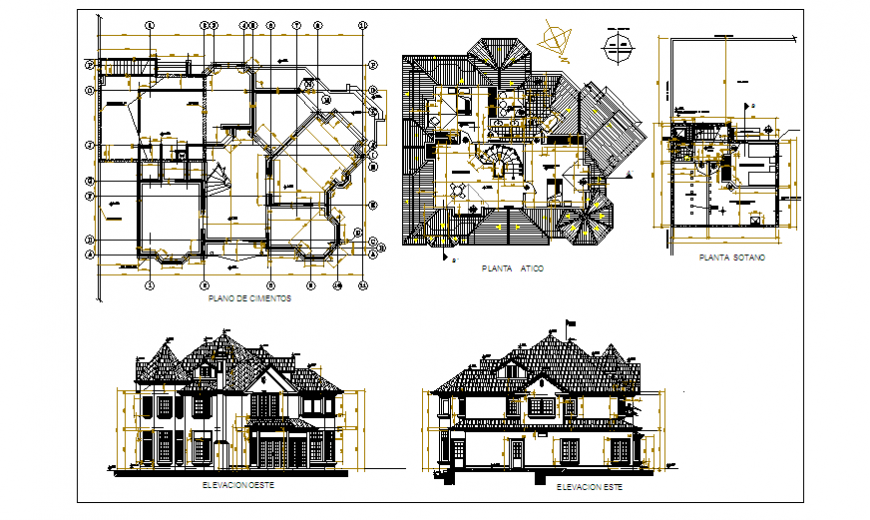 Architectural project design drawing of big house design