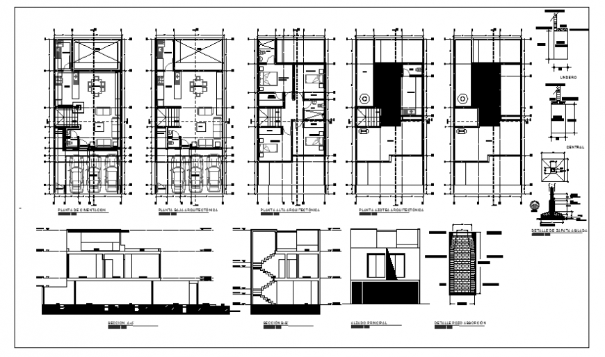 Architectural project design drawing of house for rent design
