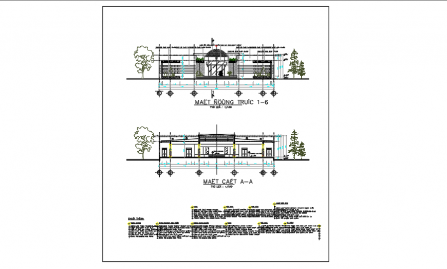 Architectural Section design of community center design drawing