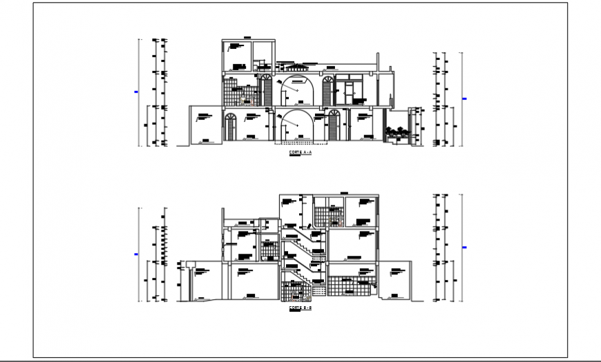 Architectural Section plan design of single family home design