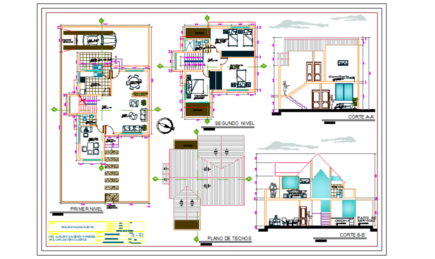 Architectural single family home design drawing
