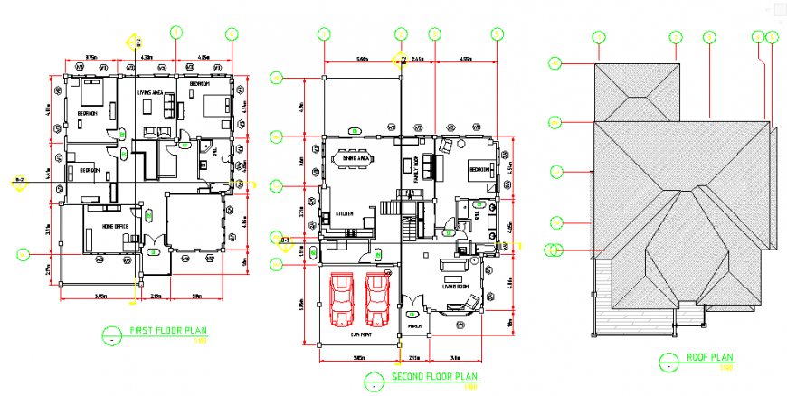 Architectural two storey residential building design drawing