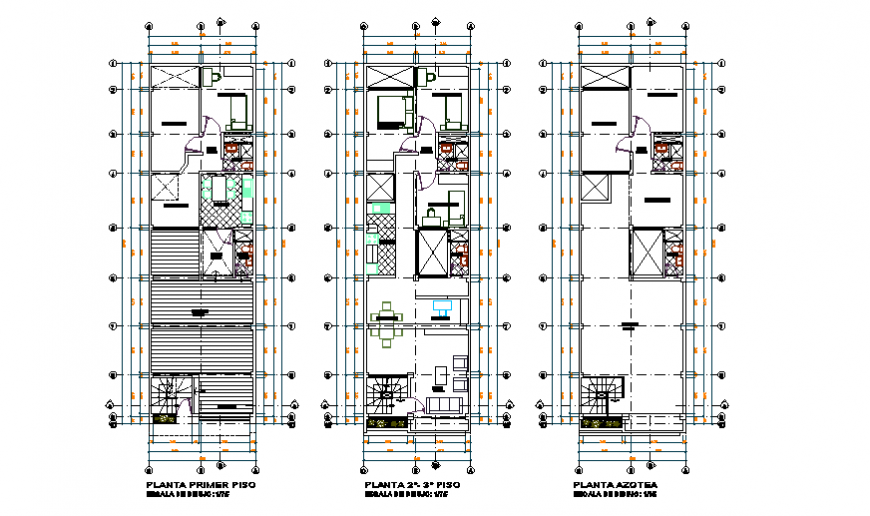 Architectural unifamiliary housing 3 floors design drawing
