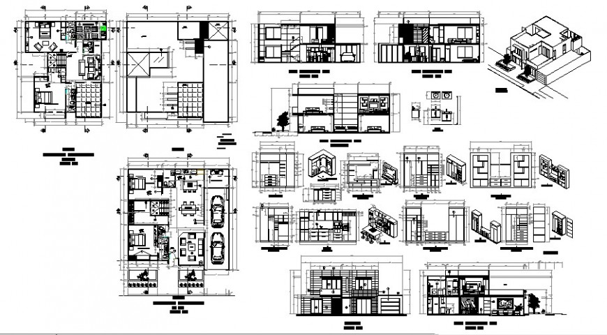 Architectural view of house floor plan, elevation and section view in auto cad