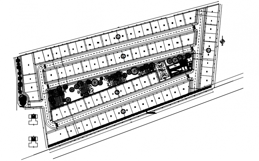 Architectural view of house layout plan in AutoCAD file