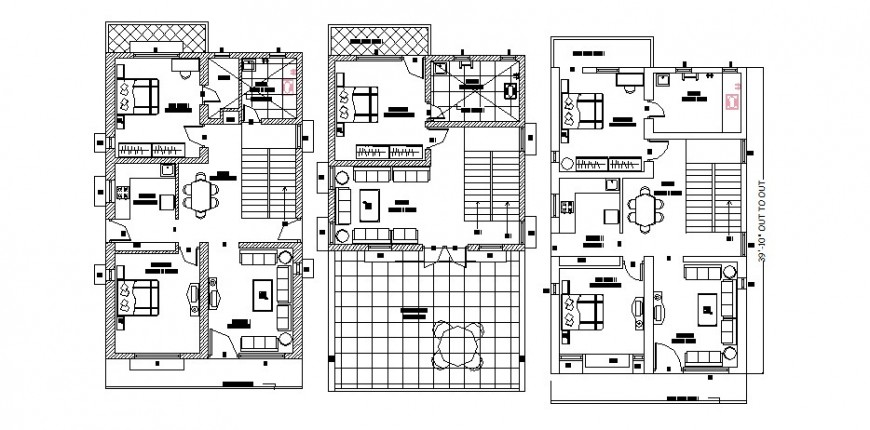 Architectural view of housing plan in AutoCAD software