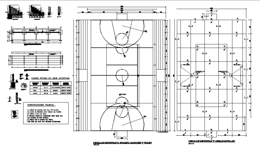 Architecture and foundations details of sports ground dwg file