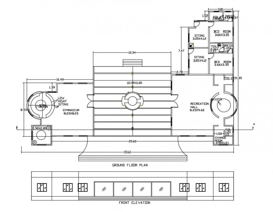 Architecture Club house layout plan dwg file