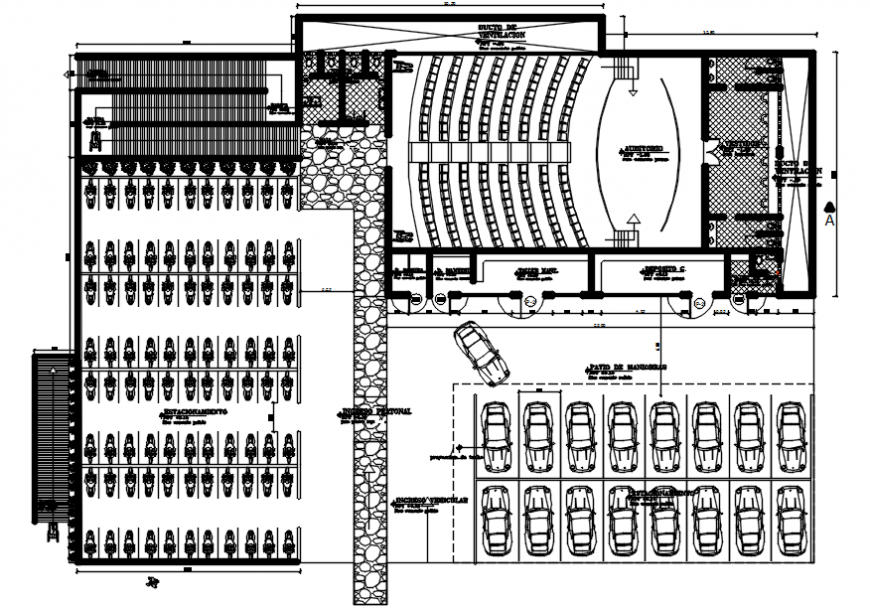 Architecture college distribution plan with furniture drawing details dwg file