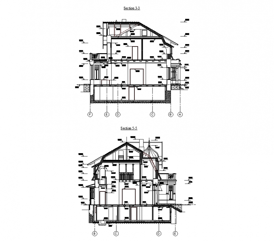 Architecture design with section of house dwg file