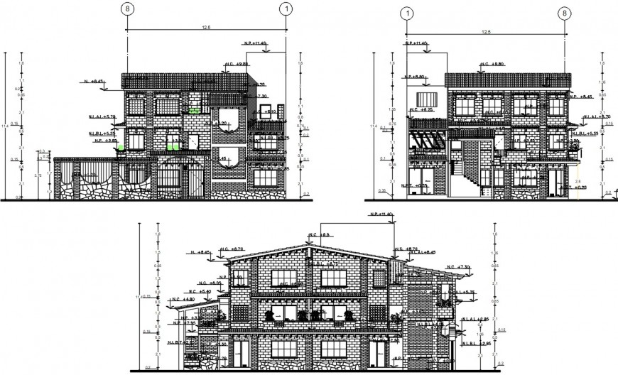 architecture elevation design cad file