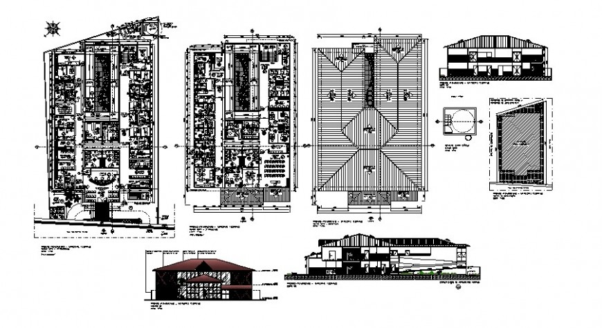 Architecture floor plan and elevation of hospital in auto cad