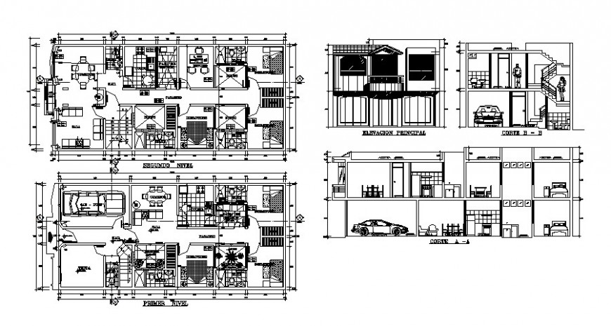 Architecture floor plan and elevation of house in auto cad