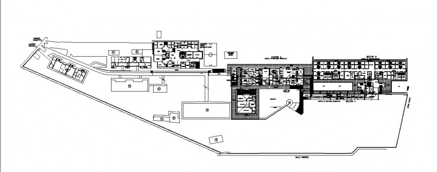 Architecture general distribution layout plan details of hospital dwg file