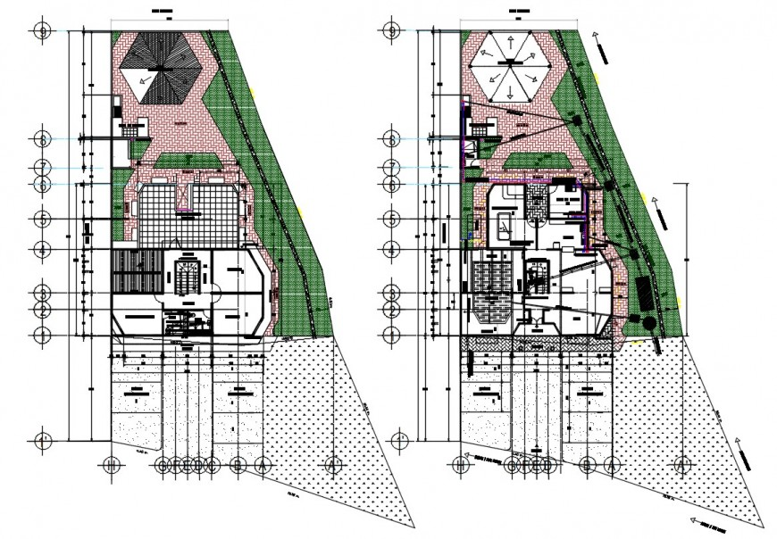 Architecture house with pool drawing cad file