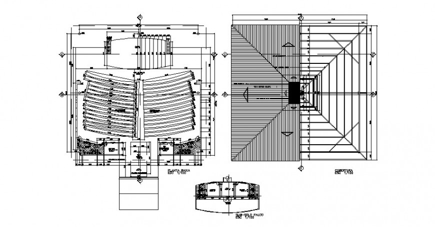 Architecture layout plan, cover plan and cad drawing details of church dwg file