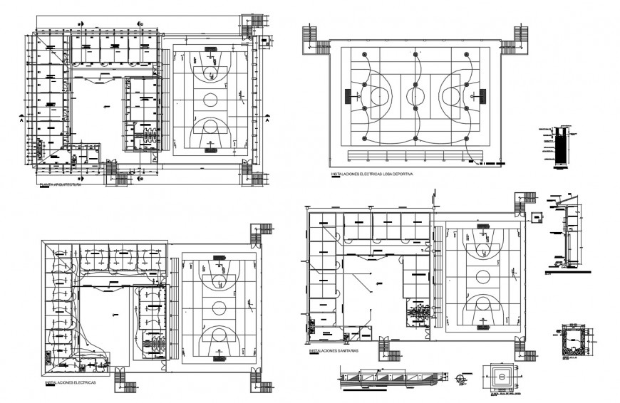 Architecture layout plan, electrical installation and sports ground details of school building dwg file