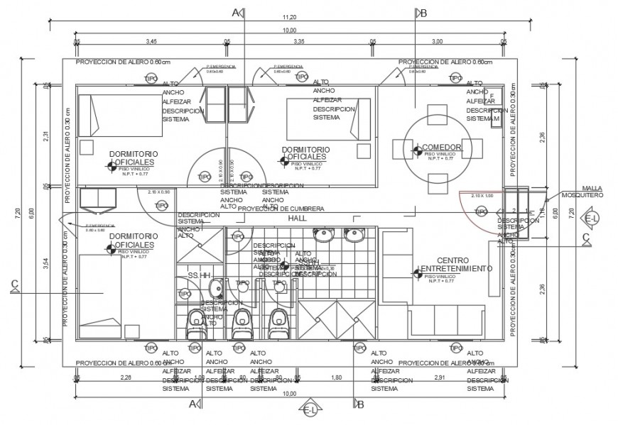 Architecture layout plan details of camp house with furniture cad drawing details dwg file