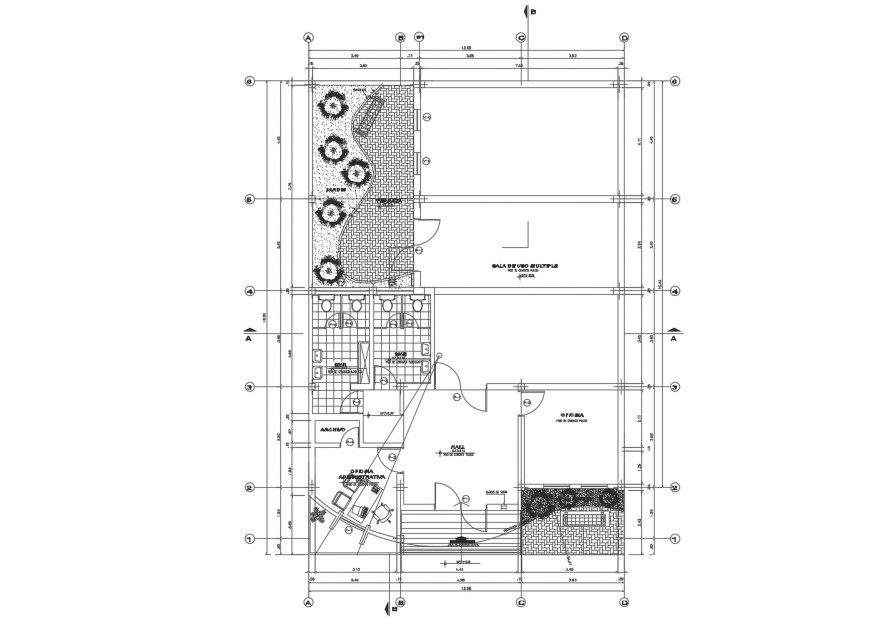 Architecture layout plan details of local communal office building cad drawing details dwg file