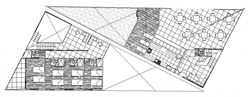 Architecture layout plan details of tourist restaurant dwg file