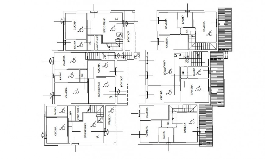 Architecture layout plan drawing details of residential twin house dwg file