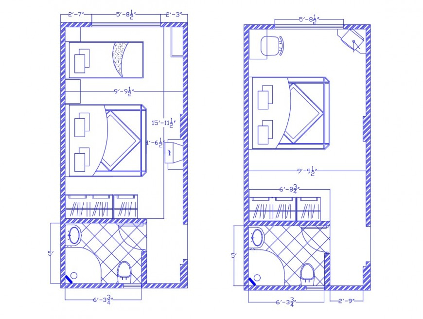 Architecture layout plan drawing details of two bedrooms dwg file