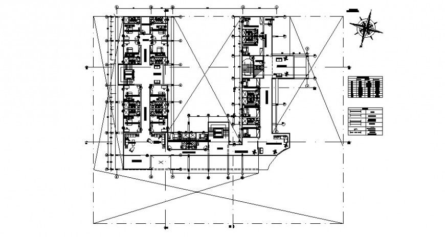Architecture layout plan of staff residence cad file