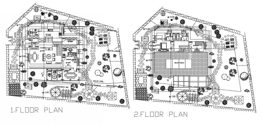 Architecture layout plan villa project autocad file