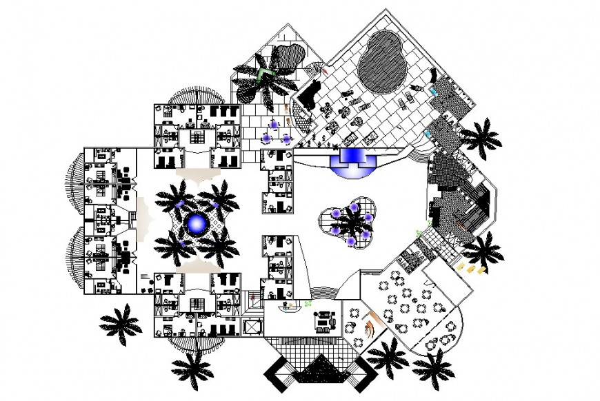 Architecture layout plan with landscaping of hotel building dwg file