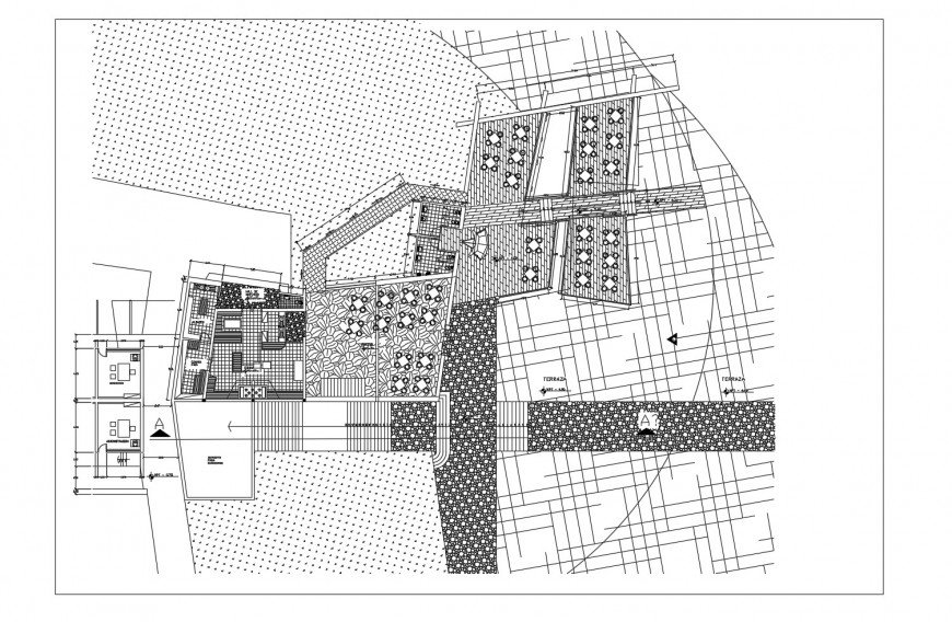 Architecture layout plan with landscaping of multi-story hotel building dwg file