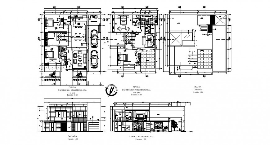 Architecture plan elevation and section view of house in auto cad