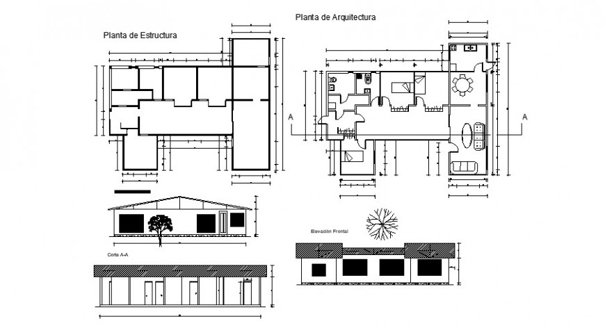 Architecture plan elevation and sectional view of house in auto cad software