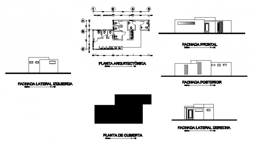 Architecture plan of house in auto cad file