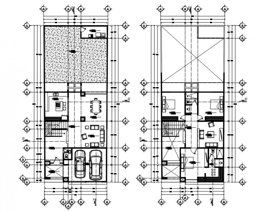 Architecture residence layout plan dwg file