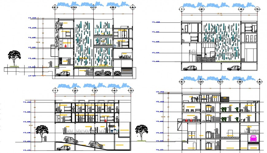 architecture section plan of hostel cad file