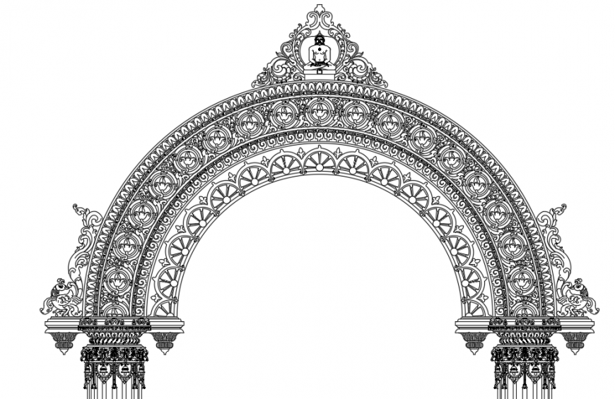 Architecture temple gate drawing autocad file