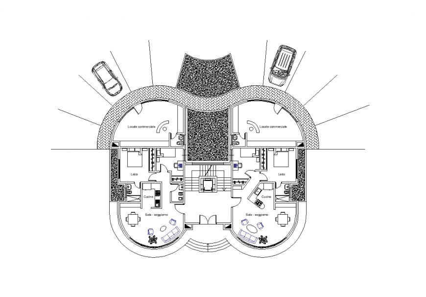 Architecture view of house design with plan dwg file