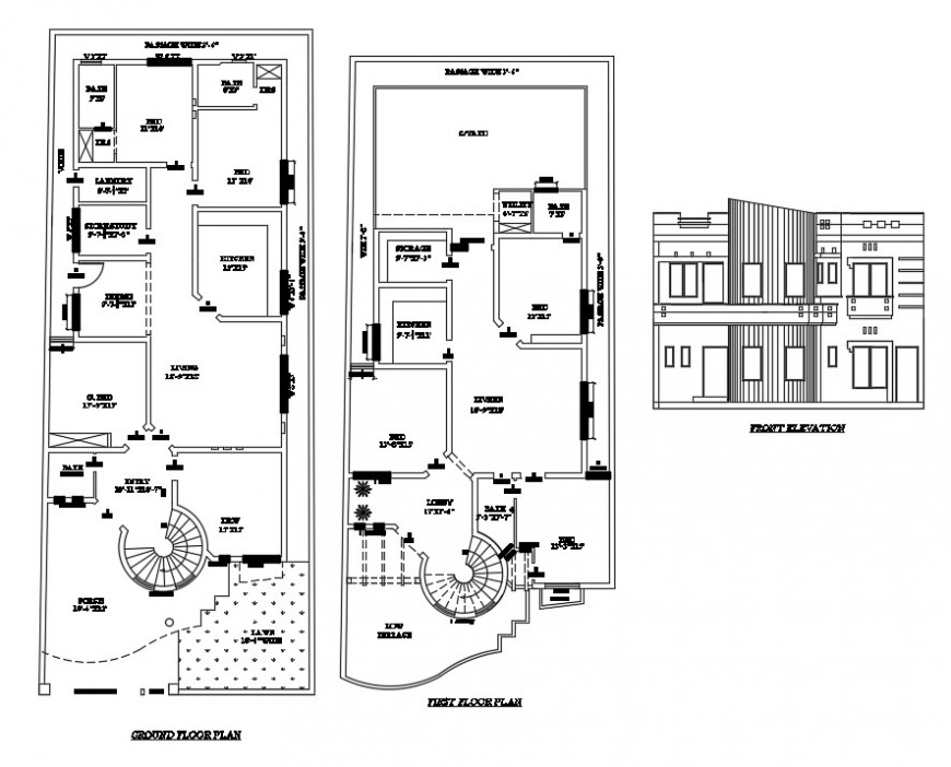 architecture villa layout plan with elevation design