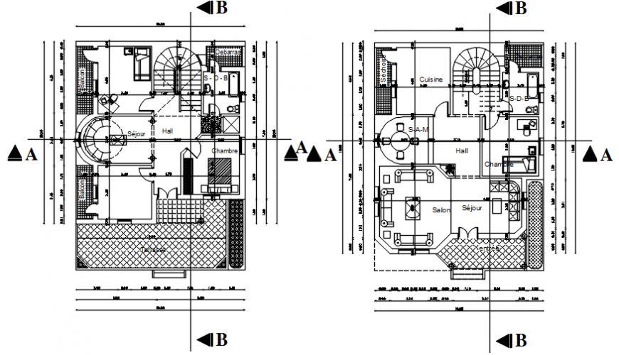 Architecture villa residential layout plan autocad file