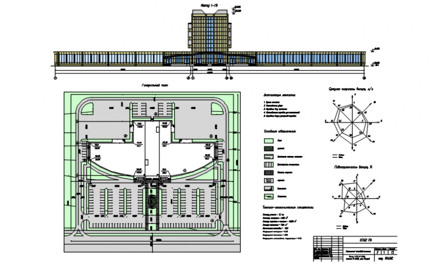 Area detail with its sign in plan and elevation of shopping area in auto cad software