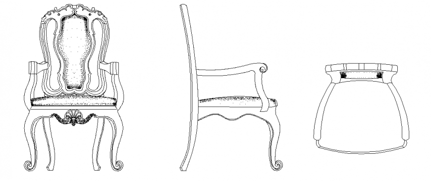 Arm chair design with elevation,side view and plan with furniture view dwg file