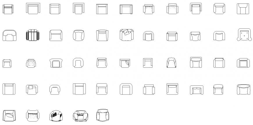 Armchair detail elevation layout 2d view autocad file