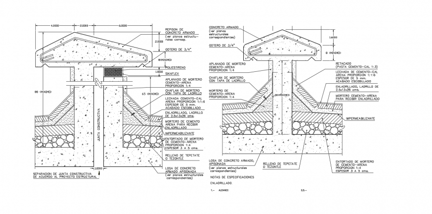 Armed concrete slab sectional elevation dwg file