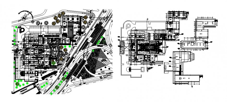 Art college distribution plan, floor plan and landscaping cad drawing details dwg file