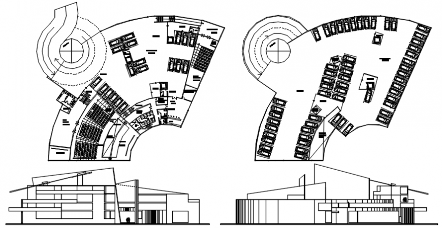 Art gallery plan and elevation government building in AutoCAD