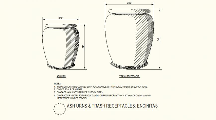Ash urns and trash receptacles circular side detail layout file