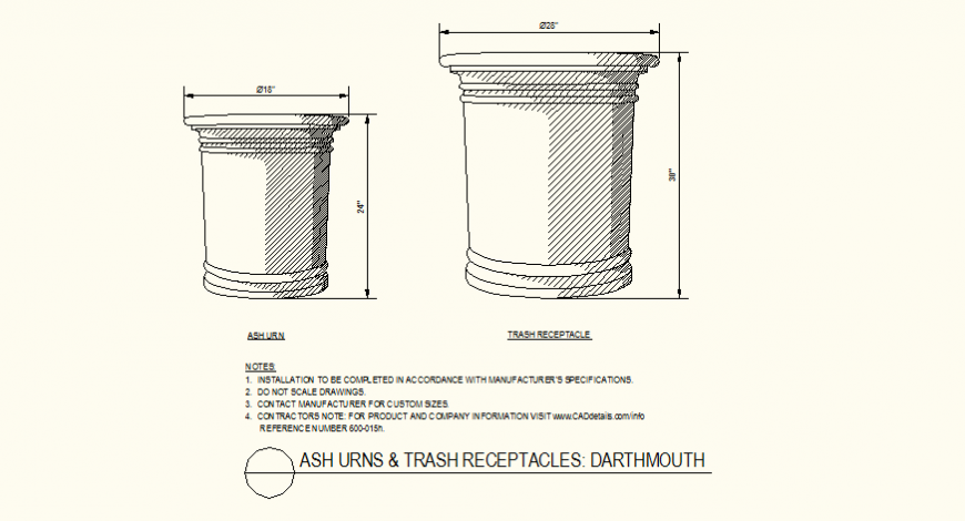 Ash urns and trash receptacles darthmouth design detail plan dwg file