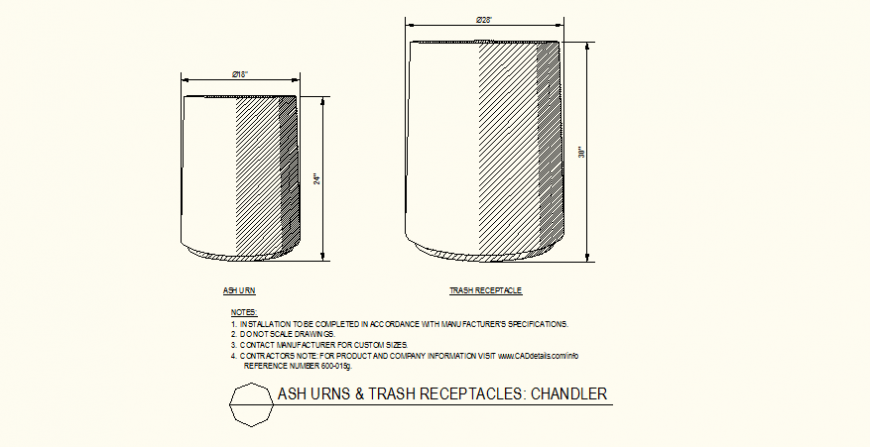 Ash urns and trash receptacles detail design layout file